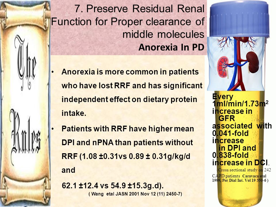 7. Preserve Residual Renal Function for Proper clearance of middle molecules Anorexia In PD