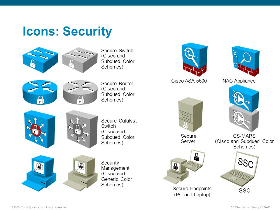 Icons: Security SSC Secure Switch (Cisco and Subdued Color Schemes)