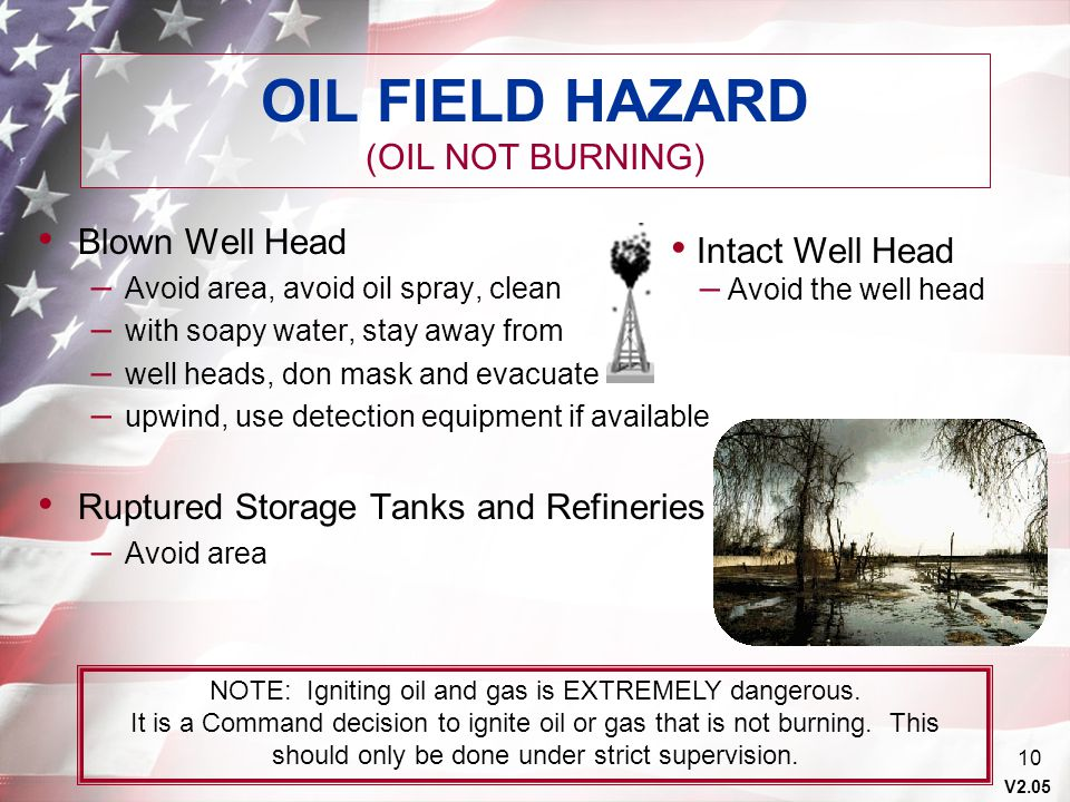 OIL FIELD HAZARD (OIL NOT BURNING)