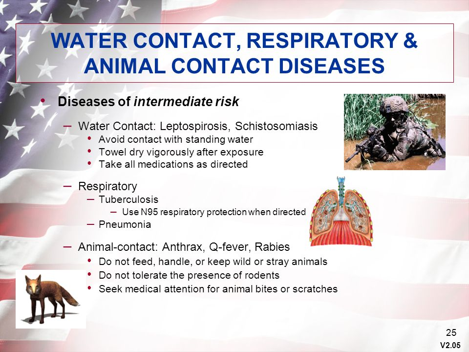 WATER CONTACT, RESPIRATORY & ANIMAL CONTACT DISEASES