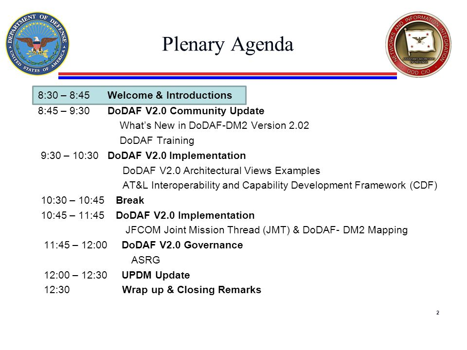 Plenary Agenda 8:30 – 8:45 Welcome & Introductions