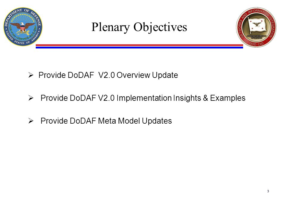 Plenary Objectives Provide DoDAF V2.0 Overview Update