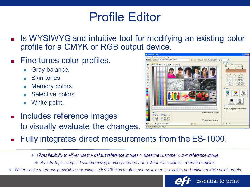 Profile Editor Is WYSIWYG and intuitive tool for modifying an existing color profile for a CMYK or RGB output device.
