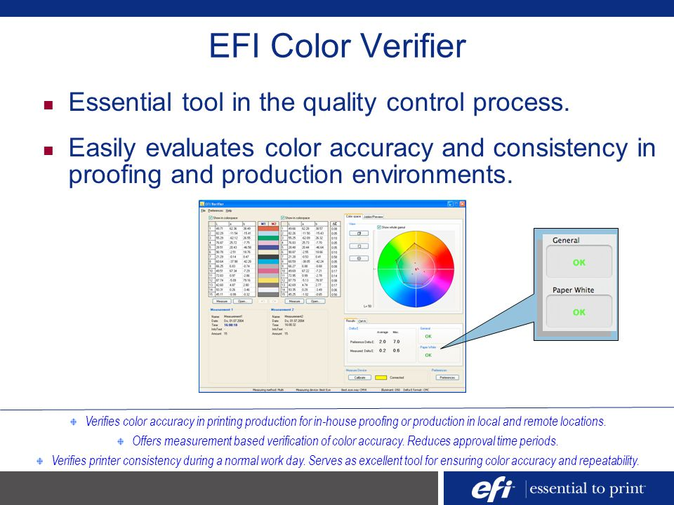 EFI Color Verifier Essential tool in the quality control process.
