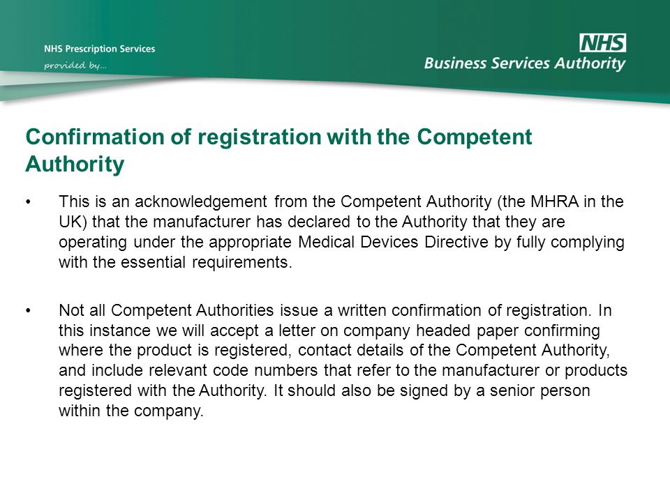 Confirmation of registration with the Competent Authority
