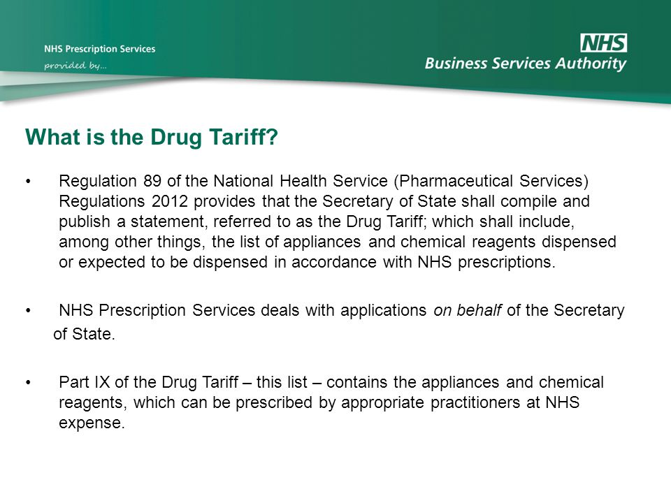 What is the Drug Tariff