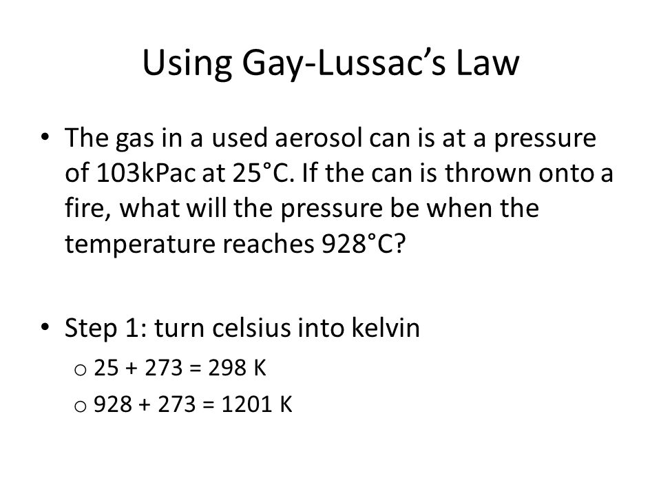 Using Gay-Lussac's Law