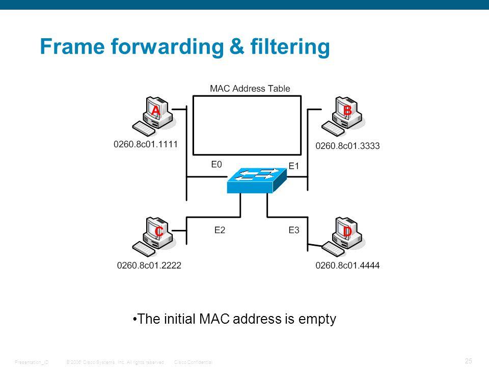 Frame forwarding & filtering
