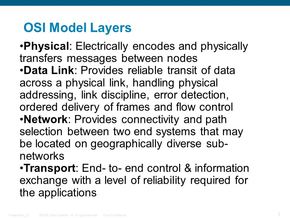 OSI Model Layers Physical: Electrically encodes and physically transfers messages between nodes.