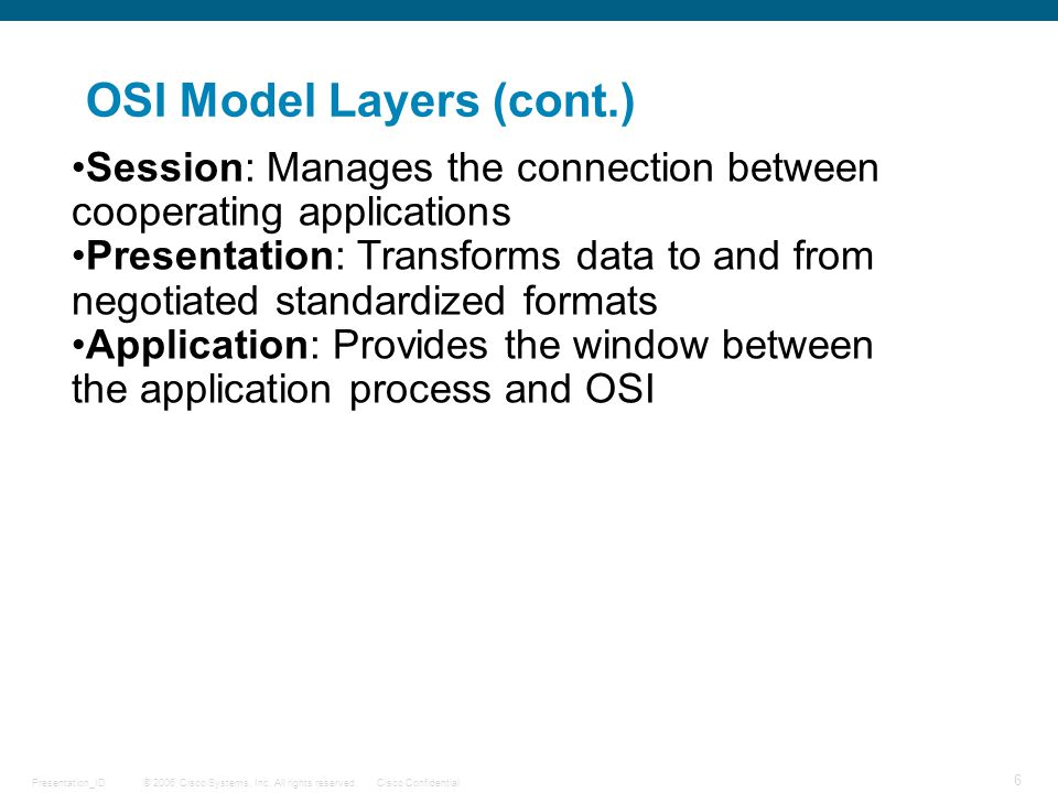 OSI Model Layers (cont.)