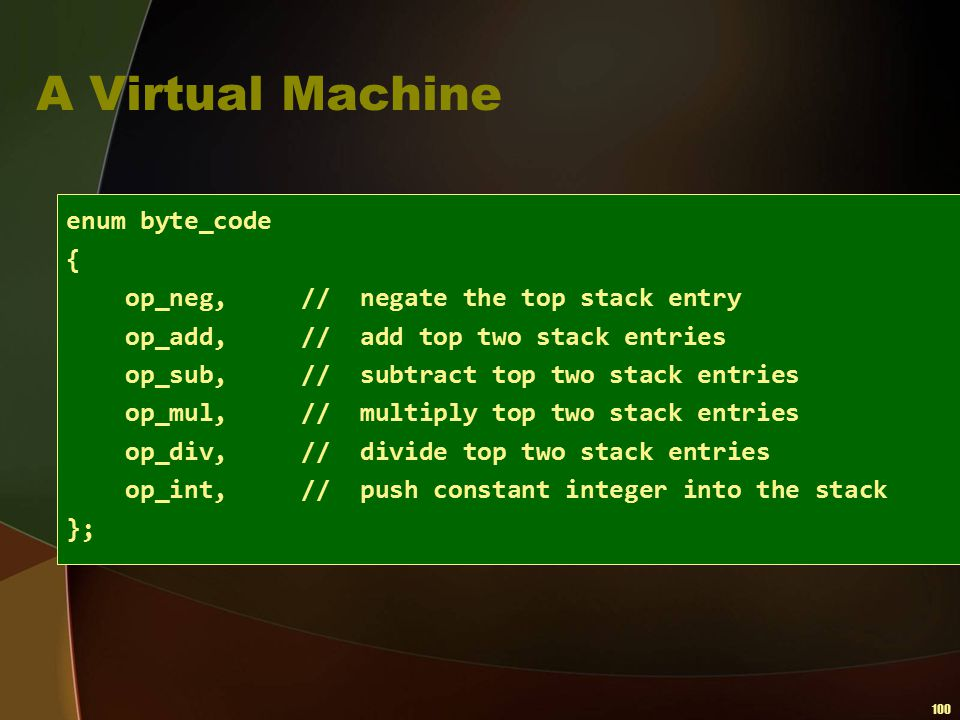 A Virtual Machine enum byte_code {
