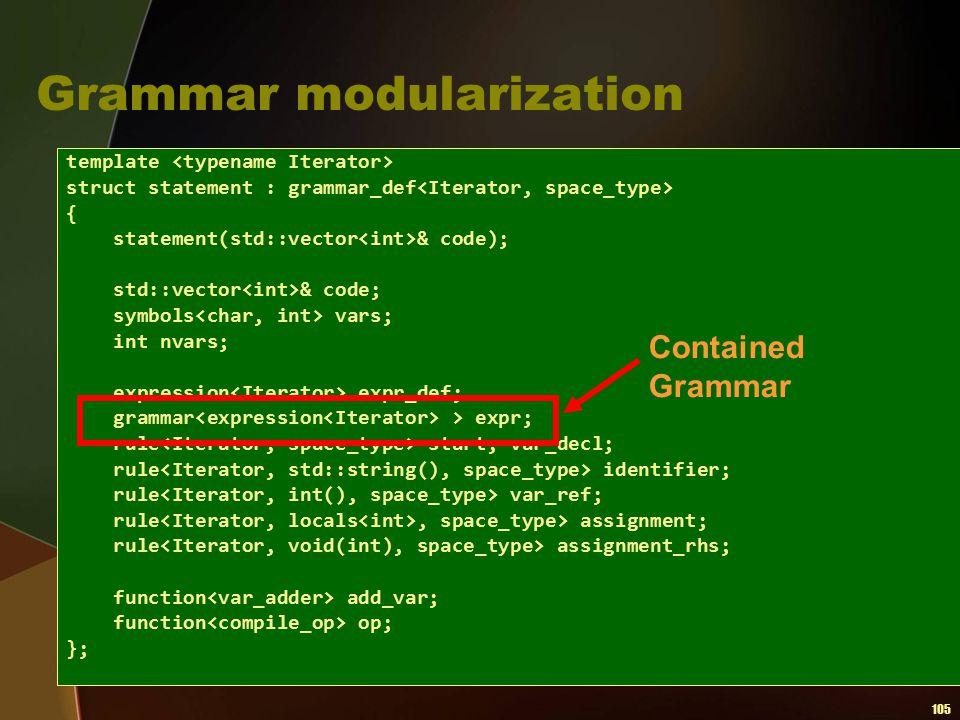Grammar modularization
