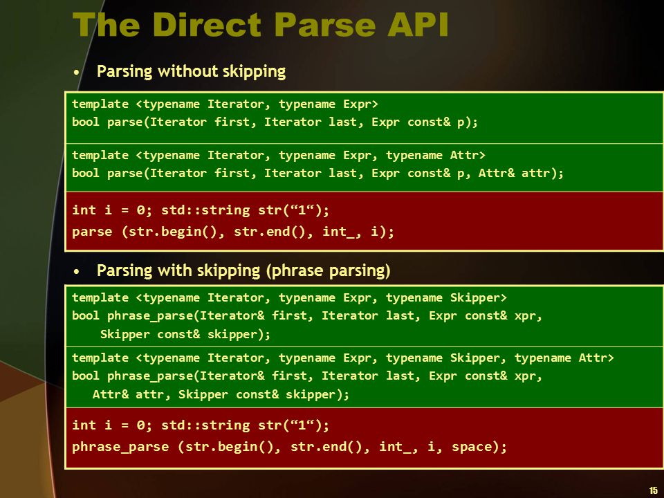 The Direct Parse API Parsing without skipping