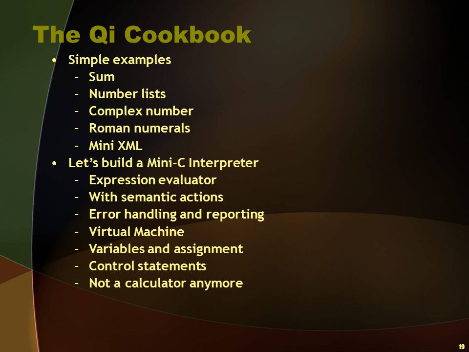 The Qi Cookbook Simple examples Sum Number lists Complex number