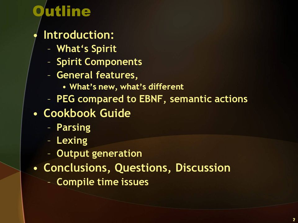 Outline Introduction: Cookbook Guide
