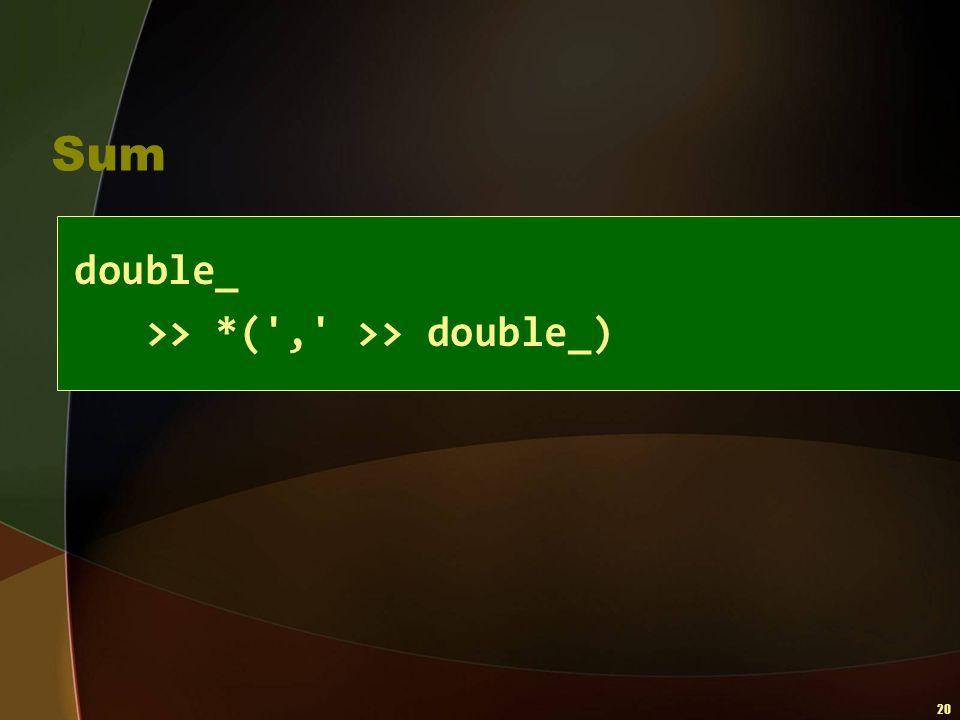 Sum double_ >> *( , >> double_)