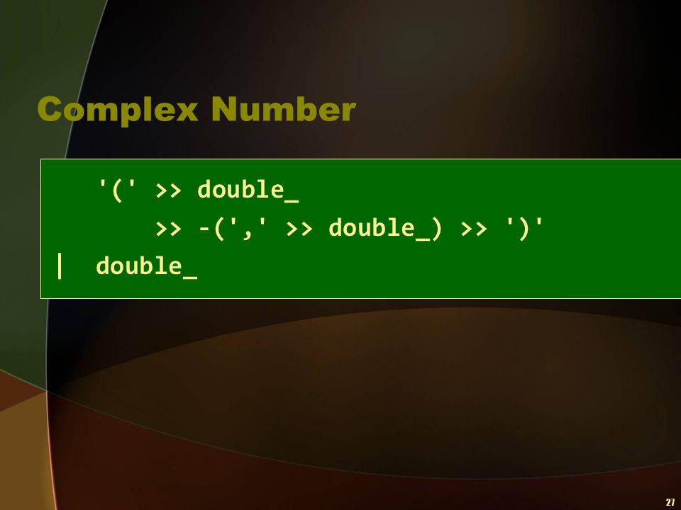 Complex Number ( >> double_