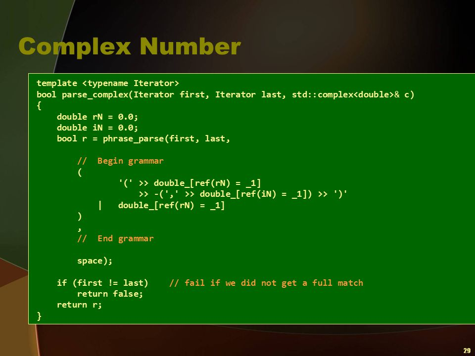 Complex Number template <typename Iterator>
