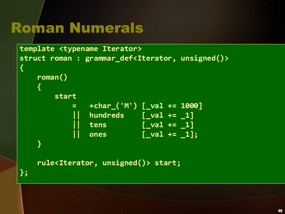 Roman Numerals template <typename Iterator>