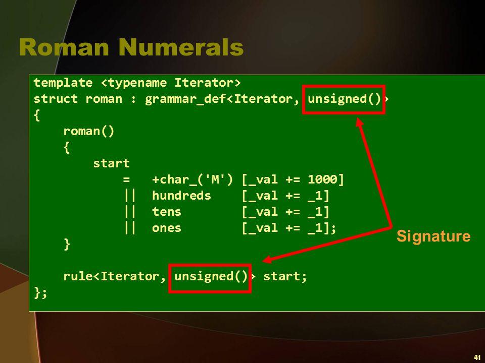 Roman Numerals Signature template <typename Iterator>