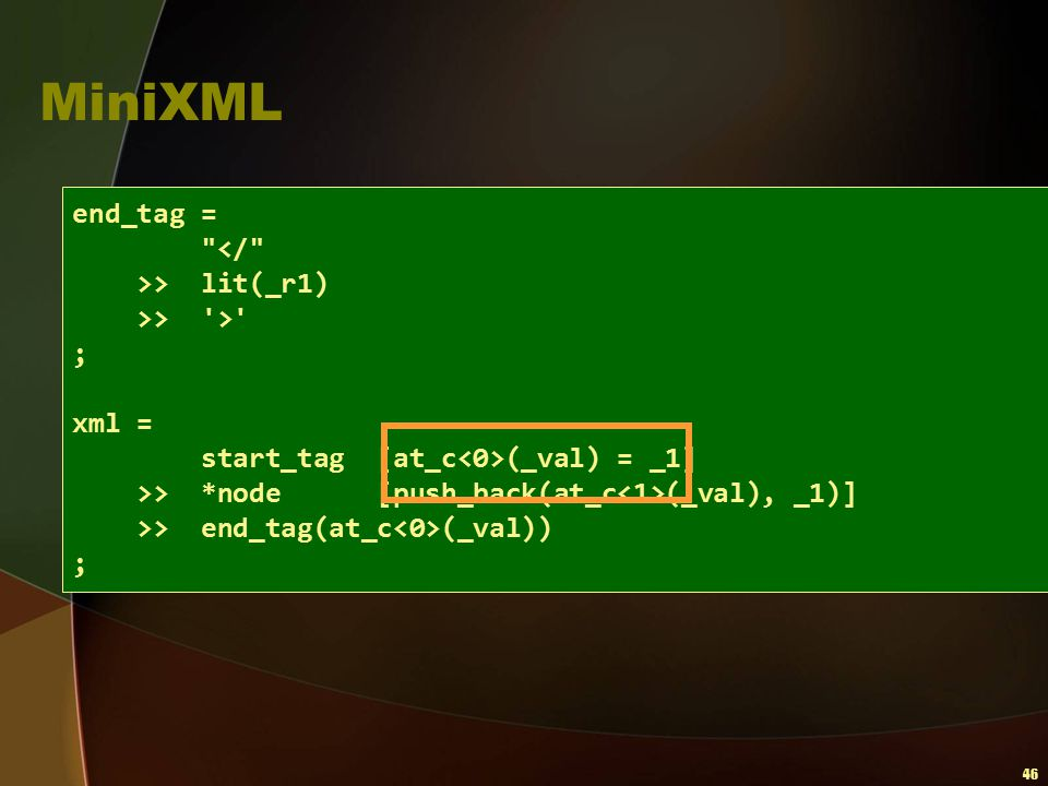 MiniXML end_tag = </ >> lit(_r1) >> > ; xml =