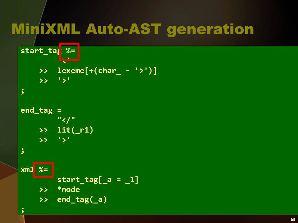 MiniXML Auto-AST generation