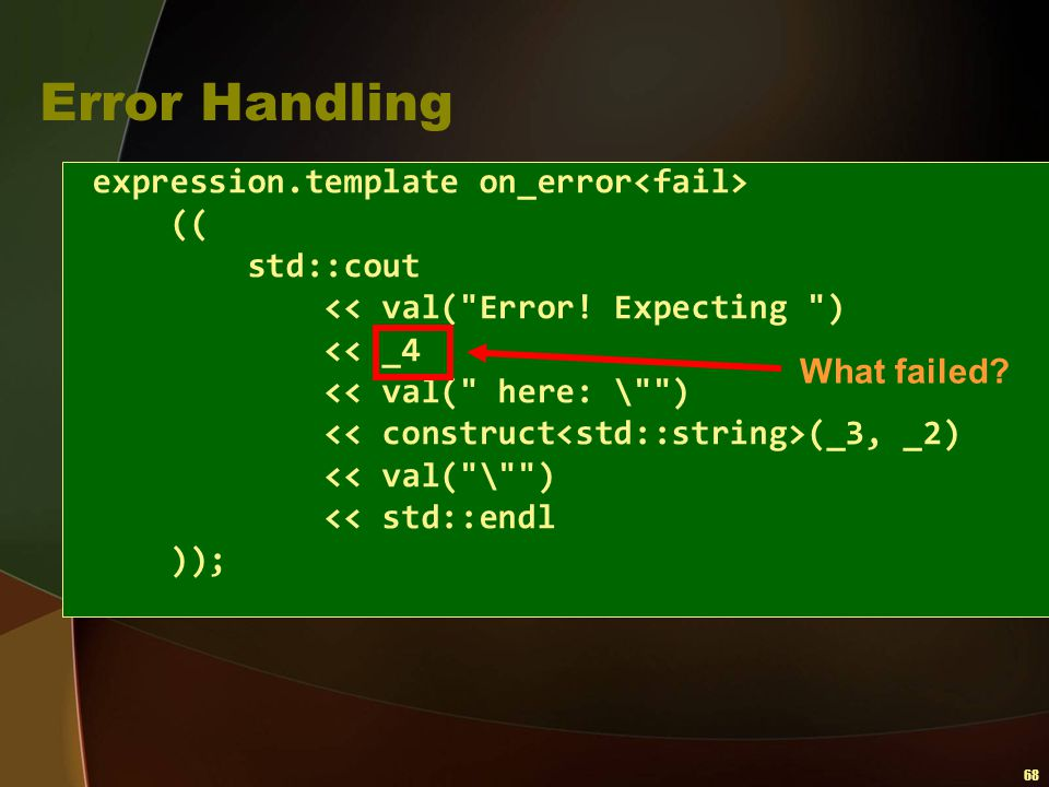 Error Handling expression.template on_error<fail> (( std::cout