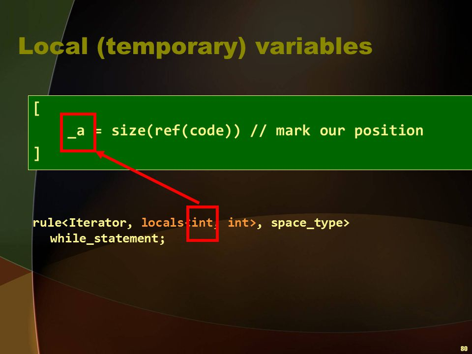 Local (temporary) variables