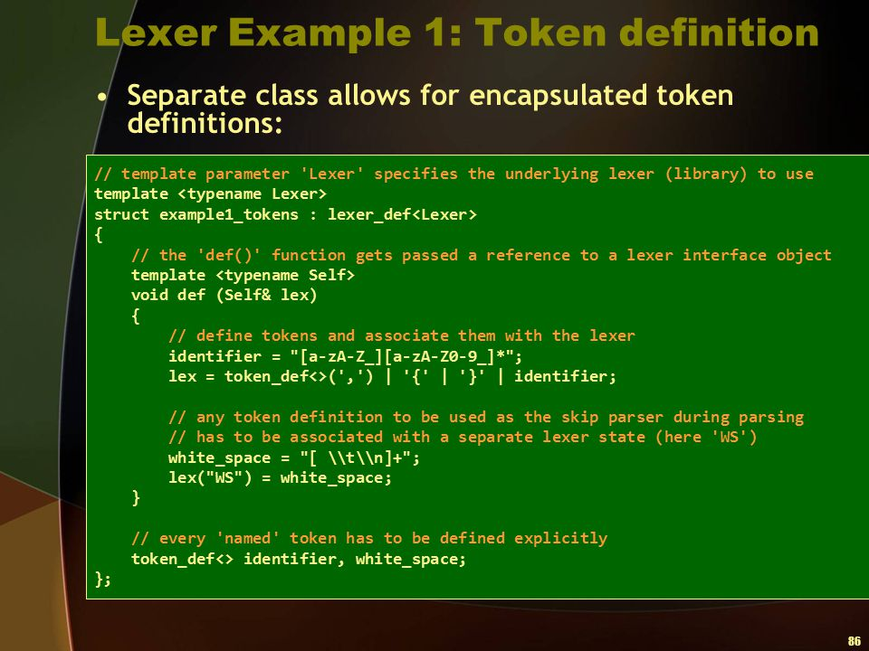 Lexer Example 1: Token definition