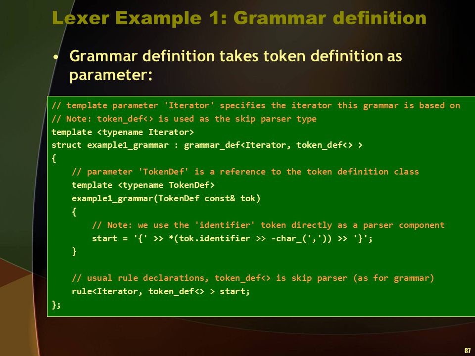 Lexer Example 1: Grammar definition