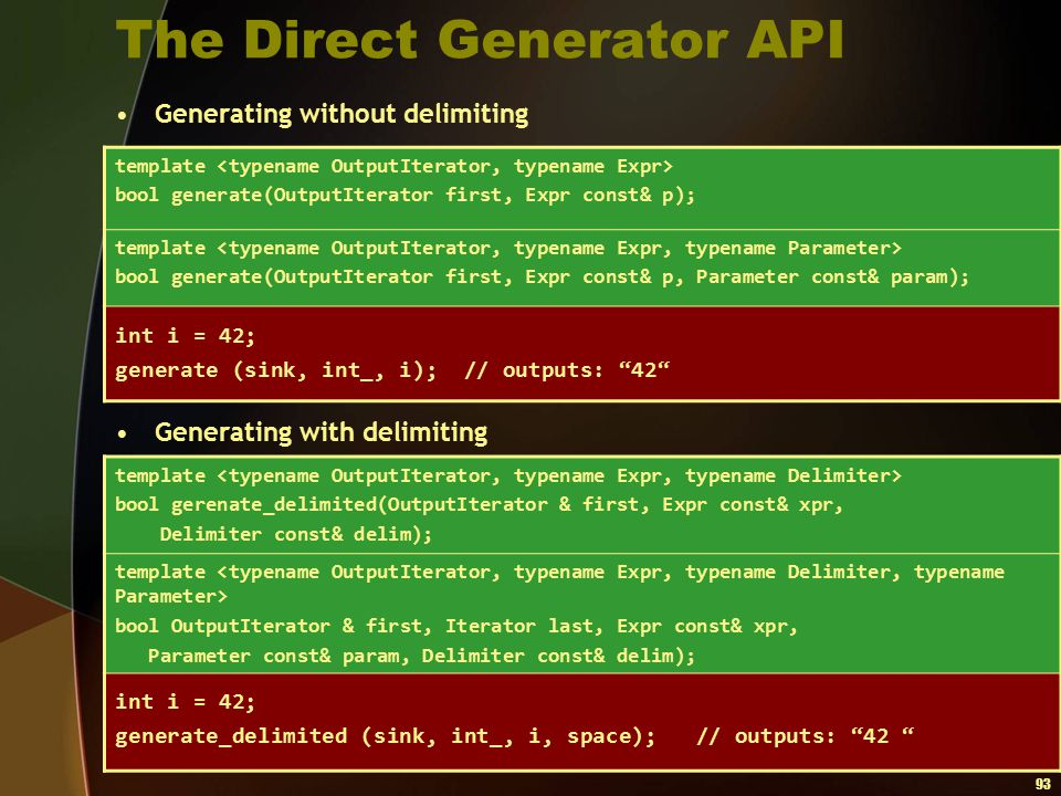 The Direct Generator API