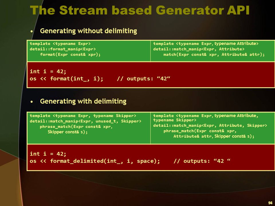 The Stream based Generator API