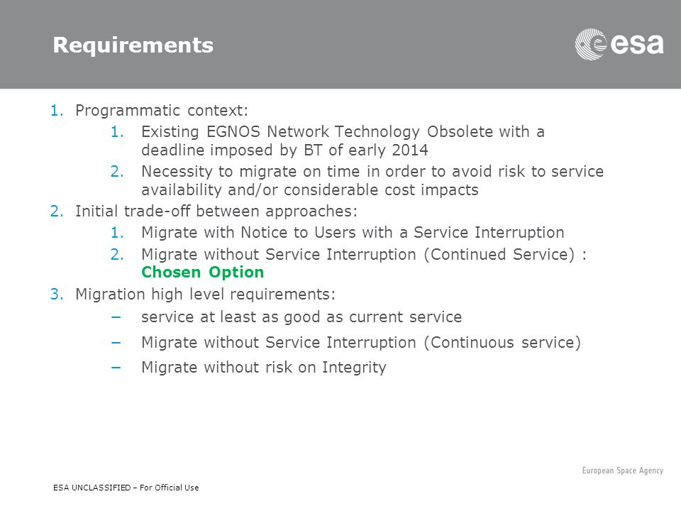 Requirements Programmatic context: