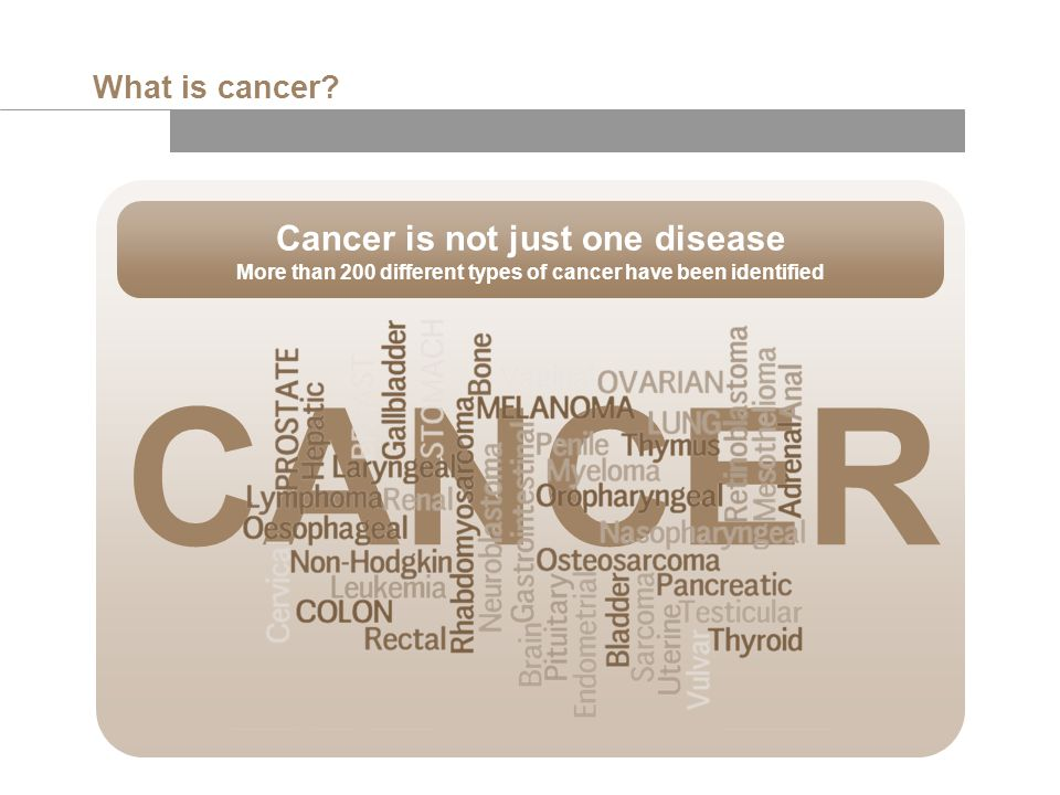CANCER Cancer is not just one disease What is cancer