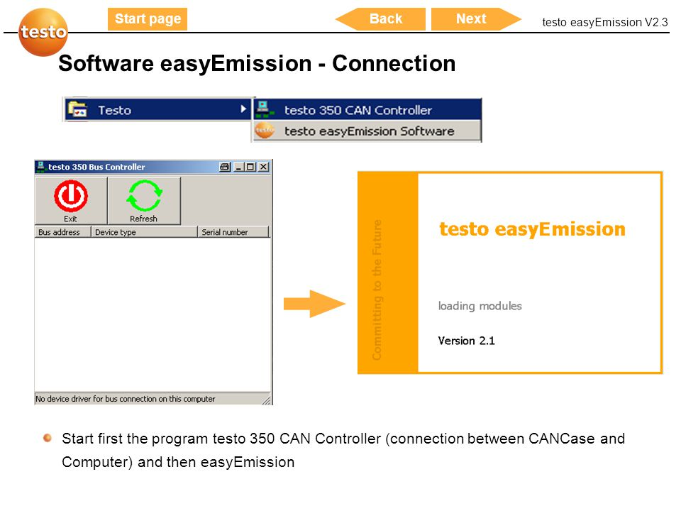Software easyEmission - Connection