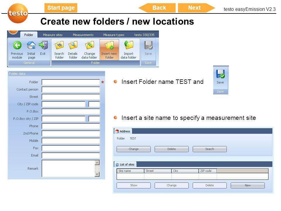 Create new folders / new locations
