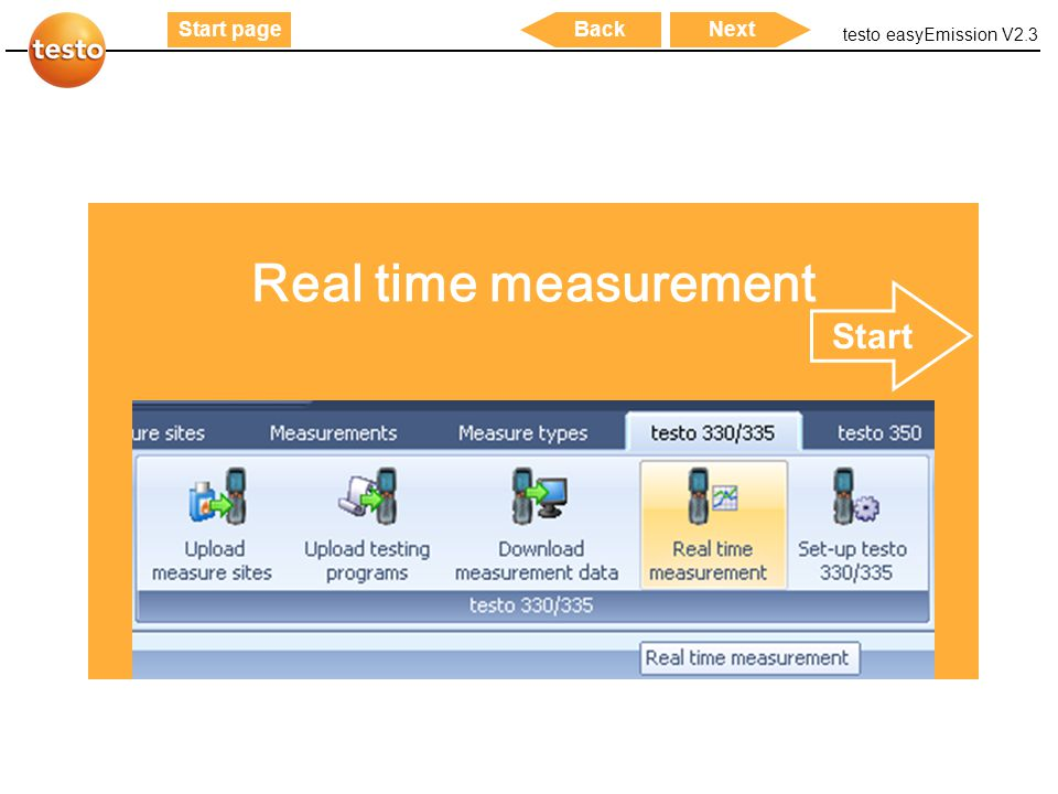 Real time measurement Start
