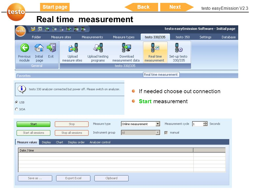 Real time measurement If needed choose out connection