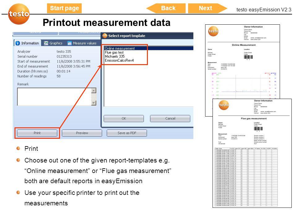 Printout measurement data