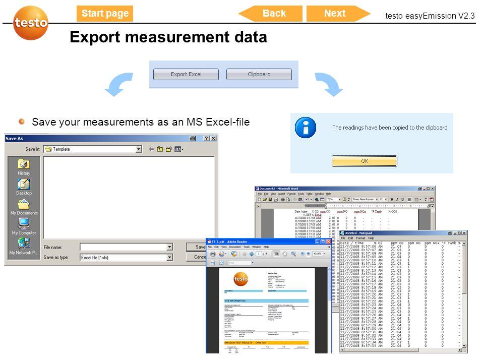 Export measurement data