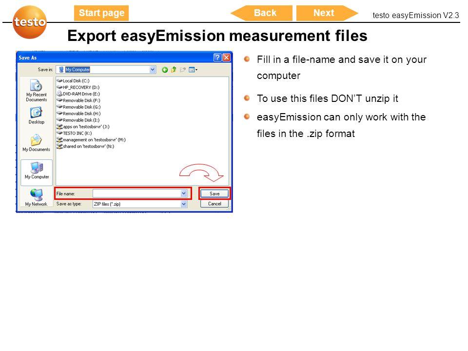 Export easyEmission measurement files