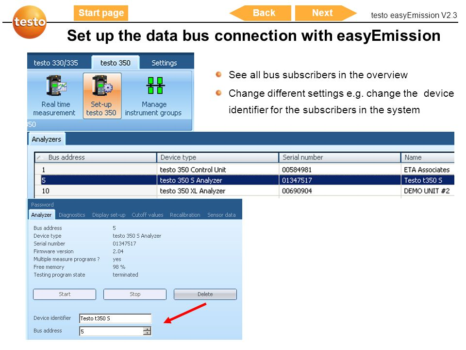Set up the data bus connection with easyEmission