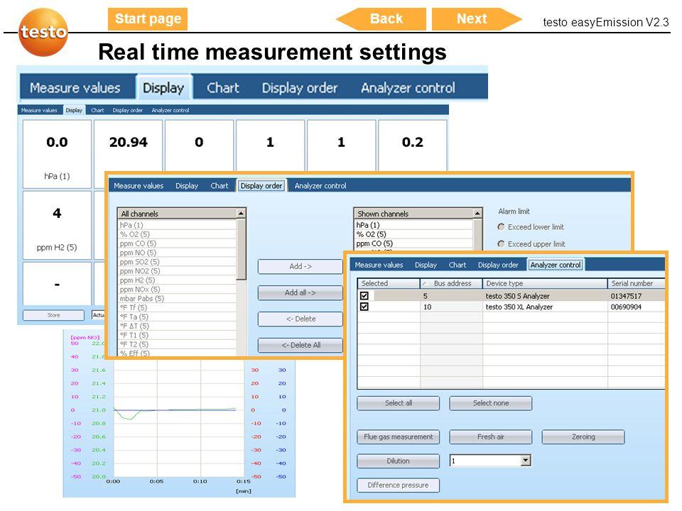 Real time measurement settings