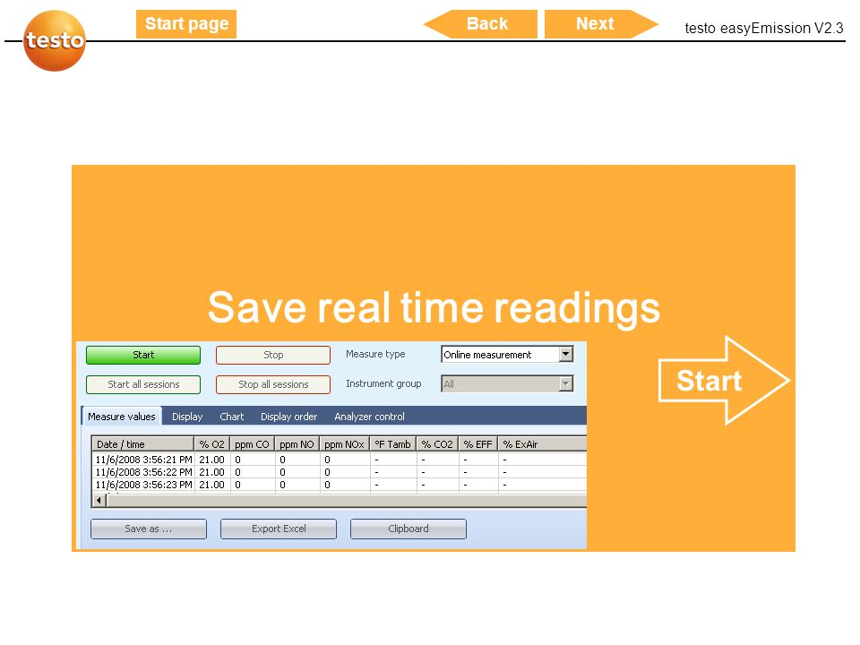 Save real time readings