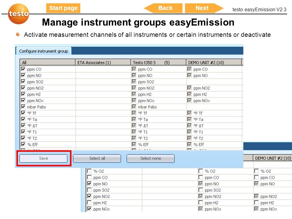 Manage instrument groups easyEmission