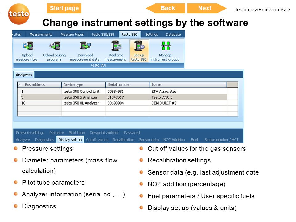 Change instrument settings by the software