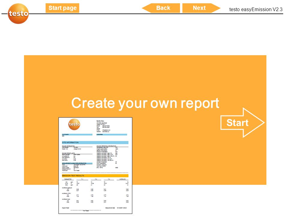 Create your own report Start