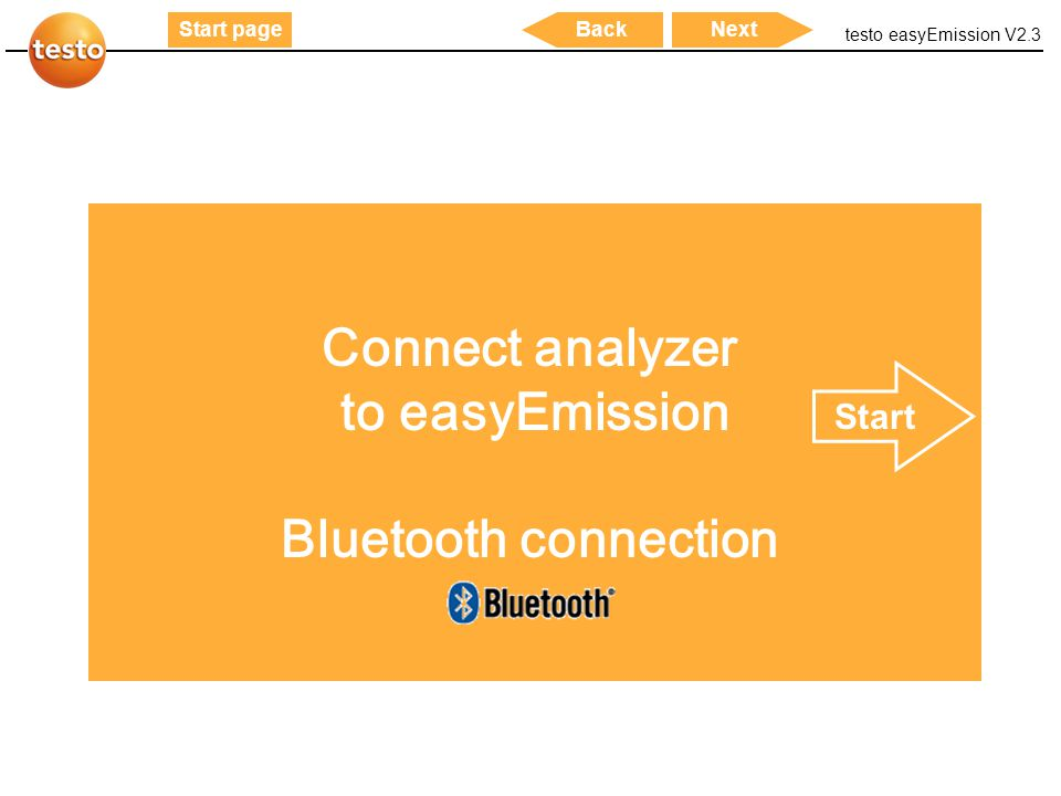 Connect analyzer to easyEmission Bluetooth connection