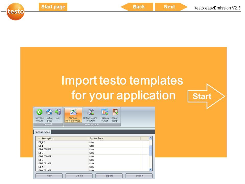 Import testo templates