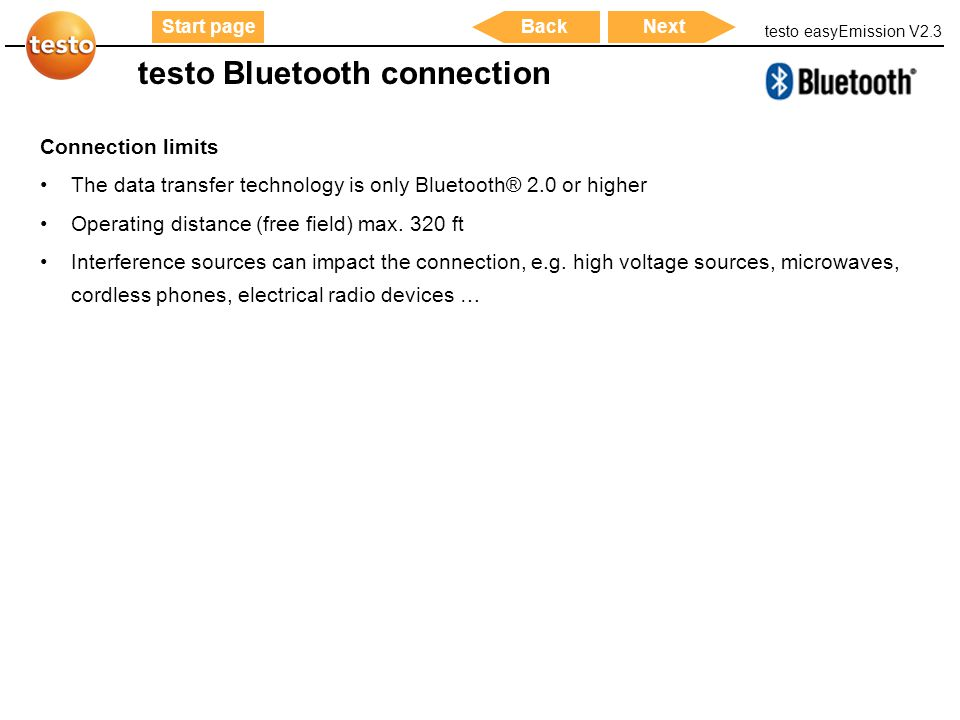 testo Bluetooth connection